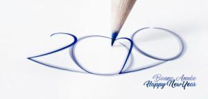 Image design 2020 pour la création de carte de voeux Bonne Année 2020 et voeux originaux sms email internet